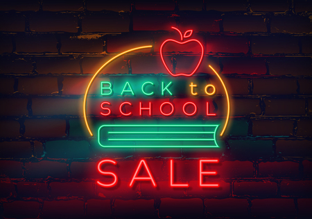 Back to school neon sign on brick wall background for sale and discount. Vector illustration