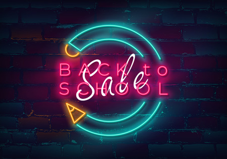 Glowing neon Back to school sign on brick wall background for sale and discount. Vector illustration