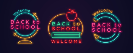 Set of Back to school neon icons. Vector illustration