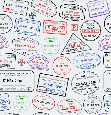 Seamless travel pattern with passport stamps. Vector illustration Standard-Bild - 116686162