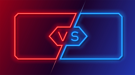 Neon frames for versus battle, sports and fight competition. Concept in neon style for two fighters. Vector illustration Illustration