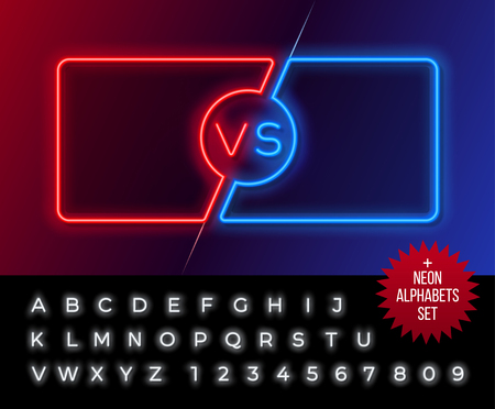 Neon frames for versus battle, sports and fight competition. Concept in neon style for two fighters with alphabet. Vector illustration 向量圖像