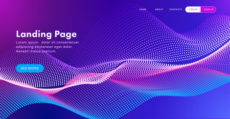 Trendy abstract landing page template for websites, or apps with dynamic flowing particles, equalizer for music, or big data. Vector illustration