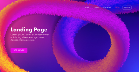 Trendy abstract landing page template for websites, or apps with dynamic colorful fluffy tinsel. Vector illustration