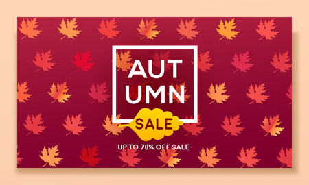 Modern autumn banner with leaves for sale and discount, website template. Seasonal vector illustration