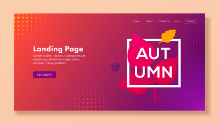Modern autumn landing page with leaves for web, banner, website template. Seasonal vector illustration Ilustracja