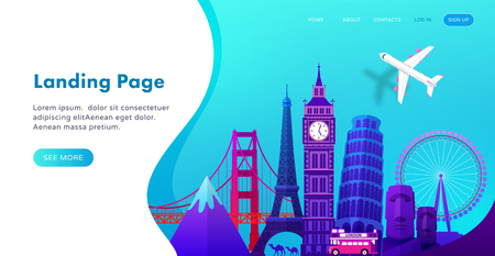 Landing page template design with famous landmarks in modern gradient style for travel or tourism website. Vector illustration Ilustracja