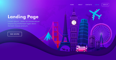 Landing page template design with famous landmarks in modern neon night style for travel or tourism website. Vector illustration