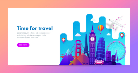Travel banner design with famous landmarks in modern gradient style for travel or tourism website. Vector illustration