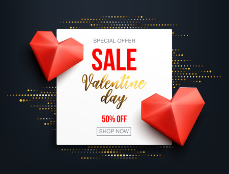 Abstract sale banner with gold halftone glitter effect for special offers, sales and discounts. Promotion and shopping template for Valentines day 50% off