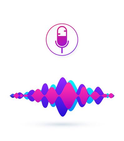 Botón de micrófono con voz brillante y líneas de imitación de sonido para reconocimiento de voz y concepto de asistente personal, tecnología de búsqueda.