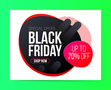 Modern Black Friday banner for special offers, sales and discounts. 70% off Ilustrace