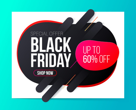 Modern Black Friday banner for special offers, sales and discounts. 60% off