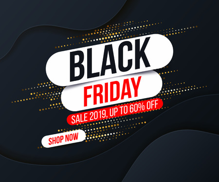 Abstract Black Friday banner with gold halftone glitter effect for special offers, sales and discounts. Promotion and shopping template for Black Friday 60% off