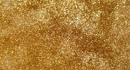 Vector gold glitter background, small golden squares, pixel style.