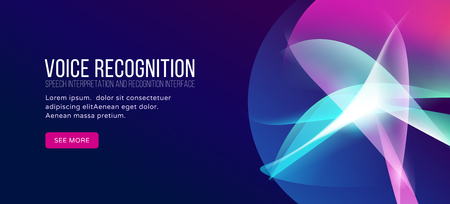 Voice recognition landing page. Personal assistant, abstract gradient waves isolated on dark blue background.