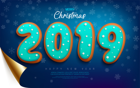 Merry Christmas and Happy New Year banner with cookies in the glaze in the form of numbers 2019 on a dark red wrapped paper with curved edge and snowflakes.
