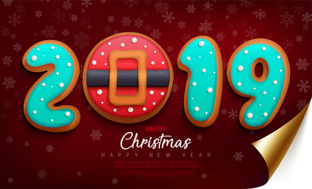 Merry Christmas and Happy New Year banner with cookies in the glaze in the form of numbers 2019 and biscuit red santa belt on a dark red wrapped paper with curved edge and snowflakes.