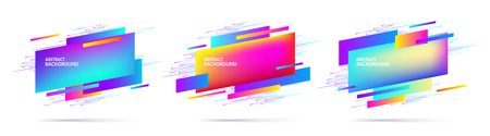 Set of abstract modern multi-colored geometric graphic elements. Dynamical colored shapes. Trendy minimal template for the design of a logo, banners or posters. Vector illustration Иллюстрация