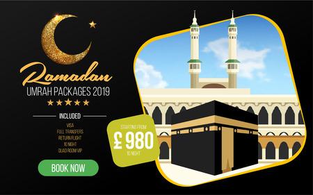 Banner or flyer design for Umrah Packages Ads, book cheap Ramadan umrah packages 2019. Umrah & Hajj Flyer Template. Vector Illusztráció