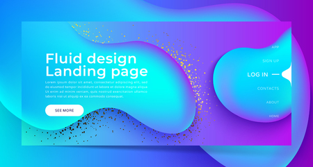 Landing page with Trendy colorful liquid gradients. Fluid colorful shapes, gold glitter. Modern artwork  shapes from acrylic epoxy. Vector