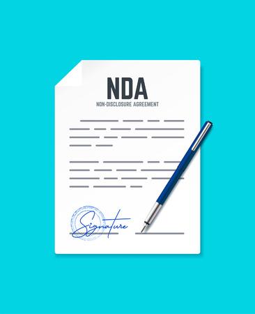 Documento de Acuerdo de Confidencialidad con sello y firma. Concepto de vector NDA con lápiz. Ilustración de vector