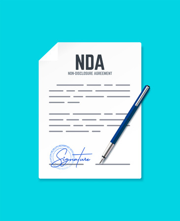 Dokument zur Geheimhaltungsvereinbarung mit Stempel und Unterschrift. Vektorkonzept NDA mit Stift. Vektorgrafik