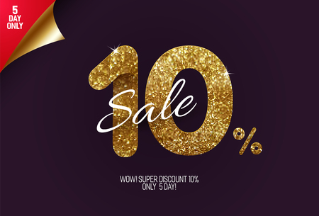 Shine golden sale 10% off, made from small gold glitter squares, pixel style. For sale and discount offers.