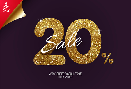Shine golden sale 20% off, made from small gold glitter squares, pixel style. For sale and discount offers.