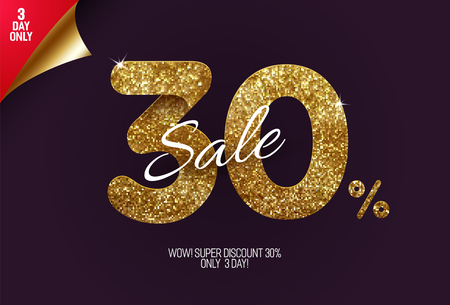 Shine golden sale 30% off, made from small gold glitter squares, pixel style. For sale and discount offers. Illustration