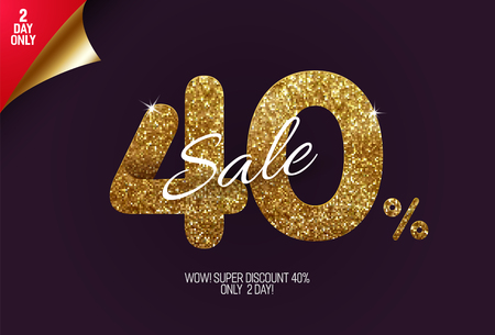 Shine golden sale 40% off, made from small gold glitter squares, pixel style. For sale and discount offers. Illustration