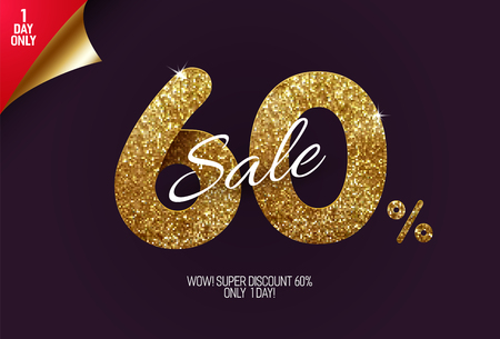 Shine golden sale 60% off, made from small gold glitter squares, pixel style. For sale and discount offers.