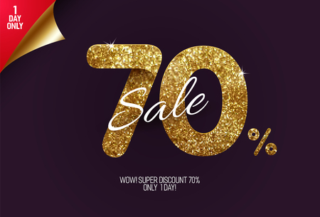 Shine golden sale 70% off, made from small gold glitter squares, pixel style. For sale and discount offers.