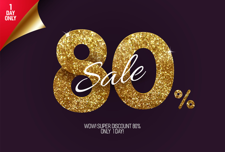 Shine golden sale 80% off, made from small gold glitter squares, pixel style. For sale and discount offers.