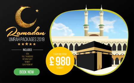 Banner or flyer design for Umrah Packages Ads, book cheap Ramadan umrah packages 2019. Umrah & Hajj Flyer Template. Vector 向量圖像