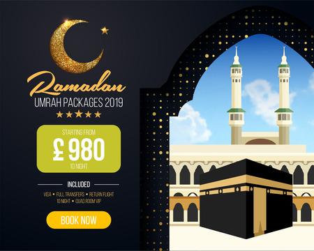 Banner or flyer design for Umrah Packages Ads, book cheap Ramadan umrah packages 2019. Umrah & Hajj Flyer Template. Vector Illustration