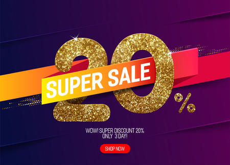 Shine golden sale 20% off with vivid paper ribbon, made from small gold glitter squares, pixel style. For super sale and discount offers. Illustration
