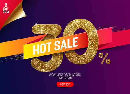 Shine golden sale 30% off with vivid paper ribbon, made from small gold glitter squares, pixel style. For hot sale and discount offers.