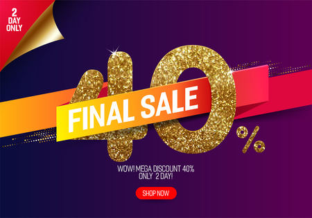 Shine golden sale 40% off with vivid paper ribbon, made from small gold glitter squares, pixel style. For final sale and discount offers.