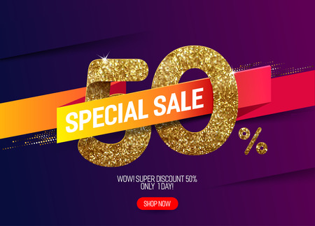 Shine golden sale 50% off with vivid paper ribbon, made from small gold glitter squares, pixel style. For special sale and discount offers.