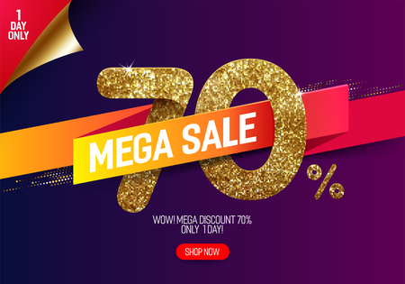 Shine golden sale 70% off with vivid paper ribbon, made from small gold glitter squares, pixel style. For mega sale and discount offers. Illustration
