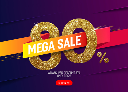 Shine golden sale 80% off with vivid paper ribbon, made from small gold glitter squares, pixel style. For super sale and discount offers.