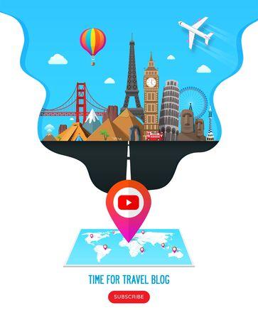 Travel banner design with famous landmarks for popular travel video blog channel or tourism website. Online travel video blog. Vector illustration Ilustração