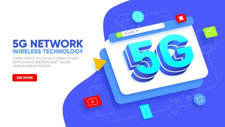 Landing page for 5G network wireless technology. Abstract layered window with big letters 5g and icons around. High-speed mobile Internet. Vector illustration