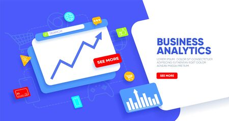 Business analytics landing page. Abstract layered window with growth graph and icons around. Financial concept for website and mobile website. Vector illustration