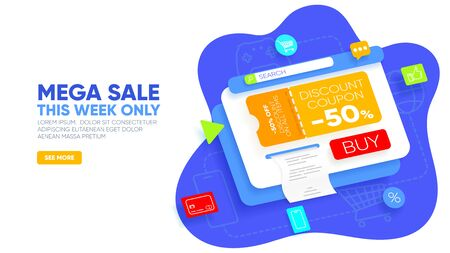 Mega sale landing page. Abstract layered window with discount coupon on -50% off, bill, buy button and icons around. Sale concept for website and mobile website. Vector illustration