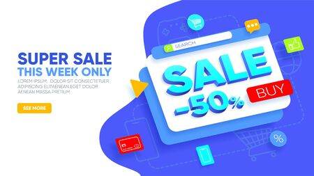 Super sale landing page. Abstract layered window with discount on -50% off, buy button and icons around. Sale concept for website and mobile website. Vector illustration Ilustração