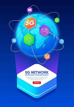 Planet earth with icons around. 5G network wireless technology. Telecommunications communication standard of the new generation. Fifth generation of mobile communication. High-speed mobile Internet. Vector illustration
