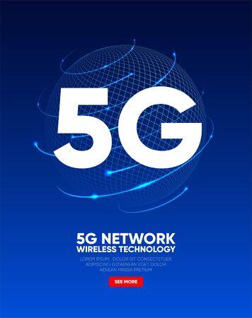 5G network wireless technology. Telecommunications communication standard of the new generation. Fifth generation of mobile communication. High-speed mobile Internet. Vector illustration Иллюстрация
