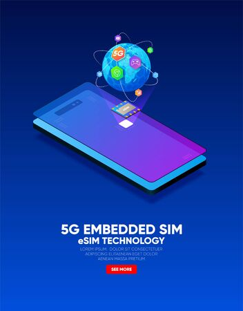 New mobile communication, eSIM card chip technology. Embedded SIM concept. 5G Vector illustration